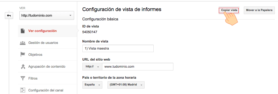 Copiar vista en Google Analytics