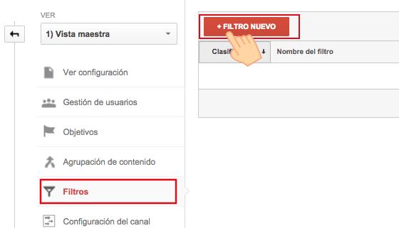 Haz click en Filtro Nuevo
