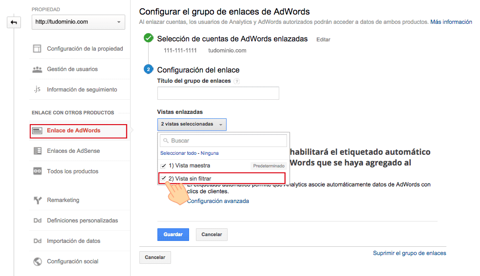 Enlazar cuenta Adwords con Analytics