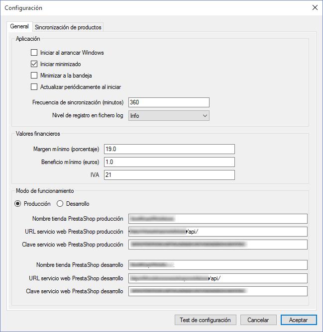 Configuración del software de sincronización de Grutinet con PrestaShop