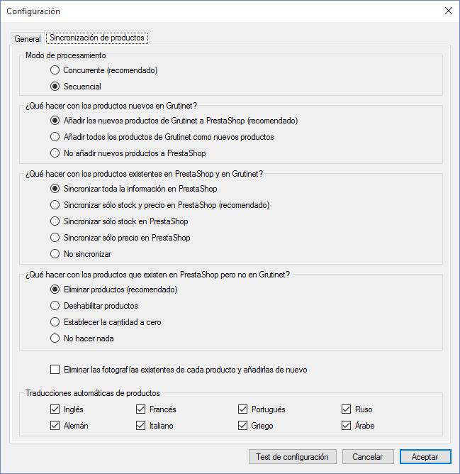 Configuración de idiomas en el software de sincronización de Grutinet con PrestaShop